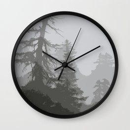 MOUNTAIN HEMLOCK SILHOUETTES IN THE CLOUDS Wall Clock