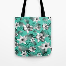 Tropical Flowers Palm Leaves Finesse #5 #tropical #decor #art #society6 Tote Bag
