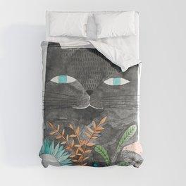 grey cat with botanical illustration Comforters