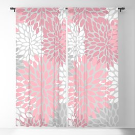 Floral Prints, Pink, White and Grey, Coloured Prints Blackout Curtain