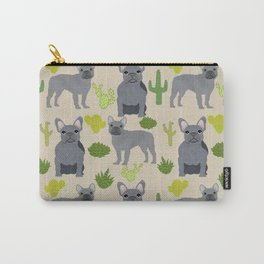 Frenchie french bulldog grey cactus desert southwest dog breed by pet friendly Carry-All Pouch