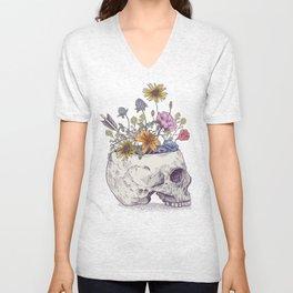 Half Skull Flowers Unisex V-Neck