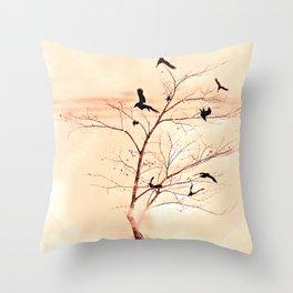 WHITEOUT/Peach Throw Pillow