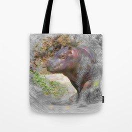 Artistic Animal Hippo Baby Tote Bag