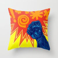 superheroes Throw Pillows featuring Superheroes SF by Nick Volkert