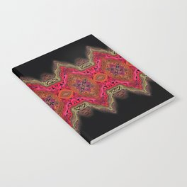 Elegant wavy pink stripes on black Notebook