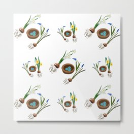 Easter flowers and birds nest pattern Metal Print