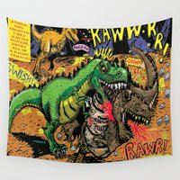 erotic Wall Tapestries featuring Space Chick & Nympho: Vampire Warrior Party Girl Comix #1- Tyrano the Dinosaur-God  in Comic Page  by Tex Watt