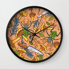 Autumn dreams of mushroom crime Wall Clock