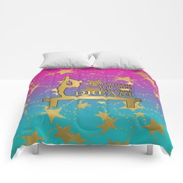 Gymnastics Live Your Dream with Pink to Blue Gradient  and Gold Stars Background Comforters