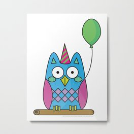 Nutty the Owl - Party Animal Metal Print