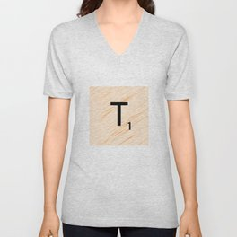 Scrabble Letter T - Large Scrabble Tiles Unisex V-Neck
