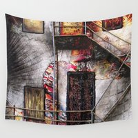 building Wall Tapestries featuring Urban Building by Julia Walters Illustration