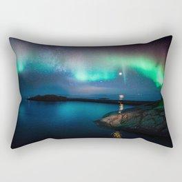 Aurora Borealis Over Coastal Waters Rectangular Pillow