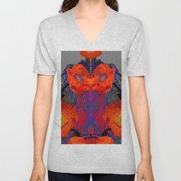 Modern Art Nouveau Fiery Orange Poppy Flowers Purple Art Unisex V-Neck