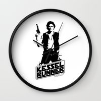 han solo Wall Clocks featuring Han Solo-Kessel Runner by IIIIHiveIIII