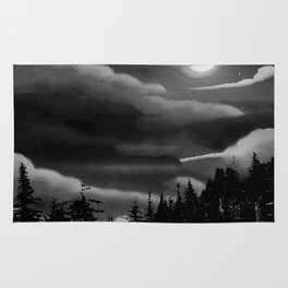 Bright Cloudy Night Sky in Black and White Rug