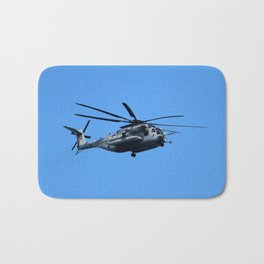 Marine Helicopter In Flight Bath Mat