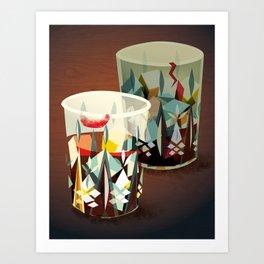 Whiskey Glasses Art Print