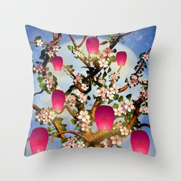 Cherry Tree Blossom With Pink Lanterns Throw Pillow