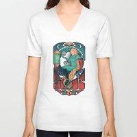 nouveau V-neck T-shirts featuring Aran Nouveau by Victor Vercesi