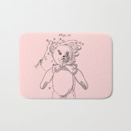 Teddy Bear Patent Pink Nursery Bath Mat