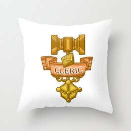 Cleric Hammer, d8 and Lantern Coat of Arms Throw Pillow