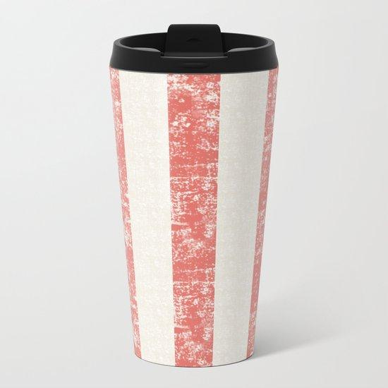 Maritime Beach Pattern- Red and White Stripes- Vertical - Metal Travel Mug