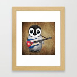 Baby Penguin Playing Cuban Flag Guitar Framed Art Print