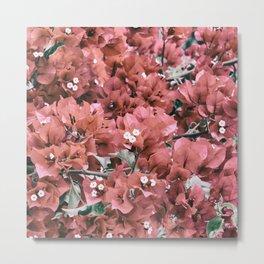 Coral Flowers Pattern Metal Print