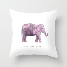 better with stripes Throw Pillow