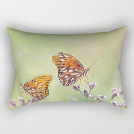 Gulf Fritillary butterflies feed on wildflowers Rectangular Pillow