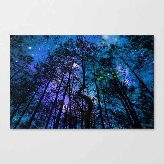 Black Trees Teal Purple Space Canvas Print