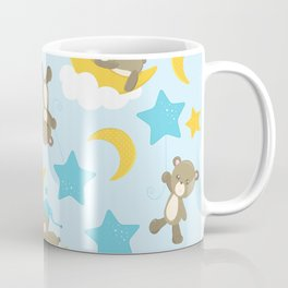 Pattern Of Cute Bears, Brown Bears, Blue Stars Coffee Mug