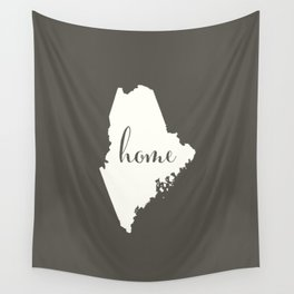 Maine is Home - White on Charcoal Wall Tapestry