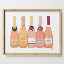 Rose Champagne Bottles Serving Tray