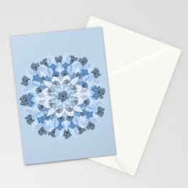 Crystals Succulents Mandala BLUE Stationery Cards