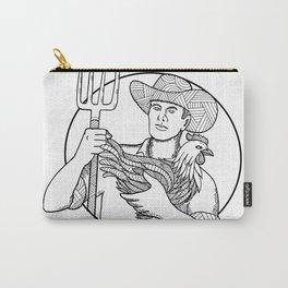 Farmer Holding Hen Pitchfork Zentagle Carry-All Pouch