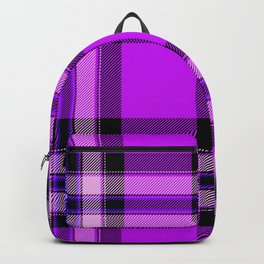 Argyle Fabric Plaid Pattern Purple and Black Colors Backpack