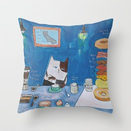 Caticorn Bagels Throw Pillow