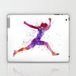 Woman runner running jumping shouting Laptop & iPad Skin