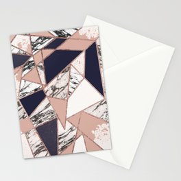 Geometric Navy Blue Peach Marble Rose Gold Triangle Stationery Cards
