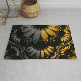Flared Golden Yellow Feathers amid Black Onyx Rug