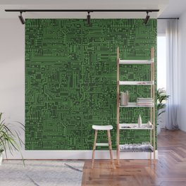Circuit Board // Light on Dark Green Wall Mural