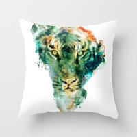 african Throw Pillows featuring African Wildlife by RIZA PEKER