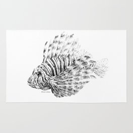 Lionfish - Pterois volitans (black and white, with scientific name) Rug