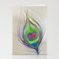 peacock feather Stationery Cards featuring Peacock Feather by Aries Art