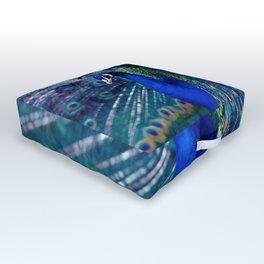 Blue Peacock Outdoor Floor Cushion