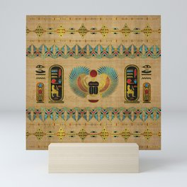 Egyptian Scarab  beetle  Ornament on papyrus Mini Art Print