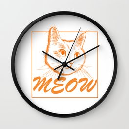 Cute Orange Cat Drawing  Wall Clock